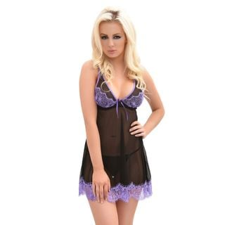 Popsi Lingerie Black And Purple Mesh And Lace Babydoll With Matching Panties