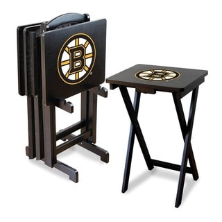 Official Licensed NHL Hockey TV Snack Trays with Storage Rack (Set of 4)