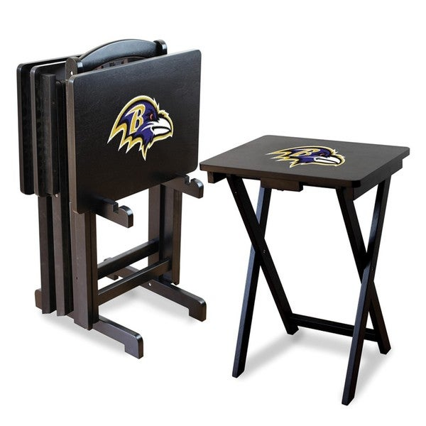 Official Licensed NFL Football TV Snack Trays with Storage Racks (Set of 4)