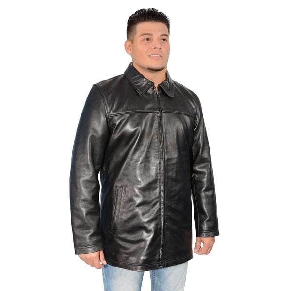 Mens Lambskin Leather Classic Zipper Front Jacket