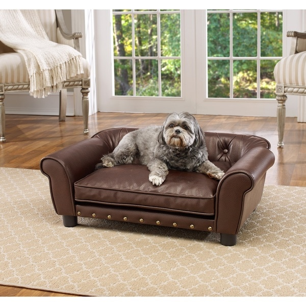 Bon Enchanted Home Pet Brisbane Brown Faux Leather Tufted Pet Sofa