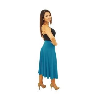 Women's Fold over Waist Midi Below Knee Skirt