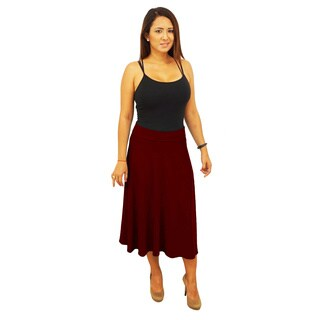 Women's Fold over Waist Midi Below Knee Skirt