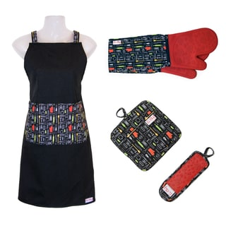 Link to Le Chef 4-piece Floral Print Kitchen Tools Apron Set Similar Items in Cooking Essentials