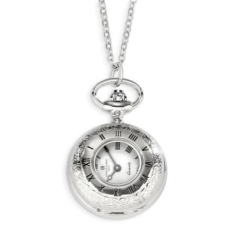 Charles Hubert Chrome over Stainless Floral Design Pocket Watch by Versil
