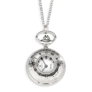 Versil Charles Hubert Chrome over Stainless Floral Design Pocket Watch