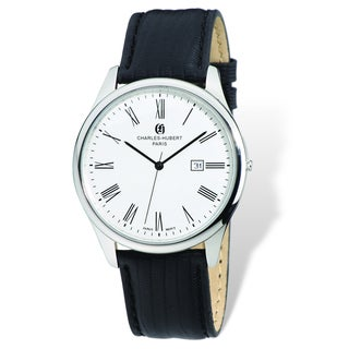 Versil Charles Hubert Men's Stainless Steel and Leather Strap Black Watch