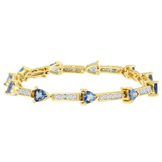 14k Yellow Gold 6 1/4ct TDW Round and Trillion Cut Diamond Bracelet (H-I, I1-I2)