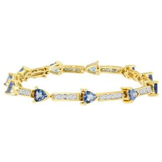14K Yellow Gold 6 1/4ct TDW Round Diamond and Trillion Cut Tanzanite Bracelet (H-I, I1-I2)