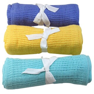 Snuggle Cellular Cotton Baby Blanket (Option: Blue)