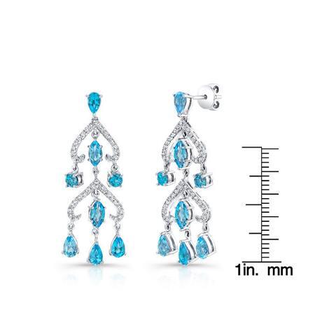 14k White Gold 1/3ct TDW Diamond and Topaz Earrings (H-I, VS1-VS2)