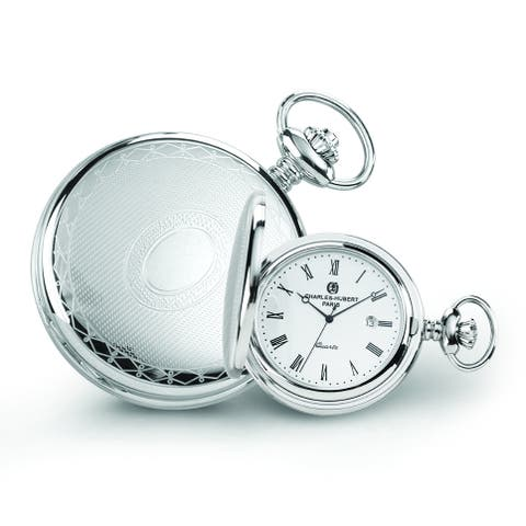 Men's Charles Hubert Stainless Steel Oval Design Pocket Watch by Versil - White
