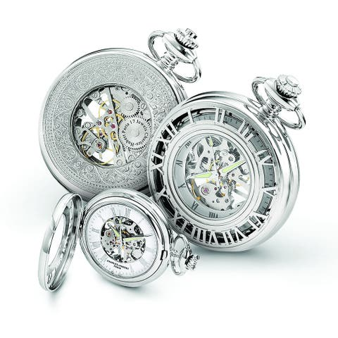 Men's Charles Hubert Chrome Over Stainless Steel Skeleton Case Pocket Watch by Versil - White