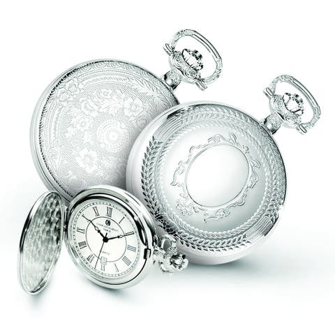 Men's Charles Hubert Chrome-finish Oval Design Pocket Watch by Versil - White