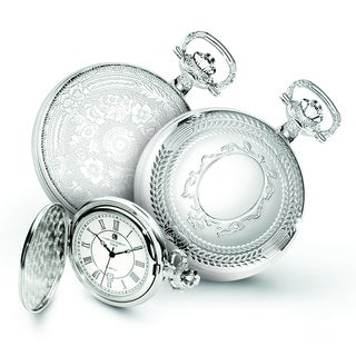 Versil Men's Charles Hubert Chrome-finish Oval Design Pocket Watch