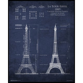 Eiffel Tower Blueprint (16-inch x 20-inch) On a Woodmount