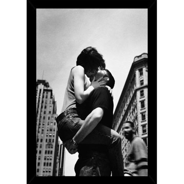 Shop NYC Kiss Print with Contemporary Poster Frame - Free Shipping ...