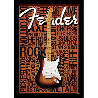 Fender - Words Print (24-inch x 36-inch) with Contemporary Poster Frame