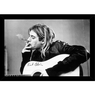 Kurt Cobain Smoking Print (36-inch x 24-inch) with Contemporary Poster Frame