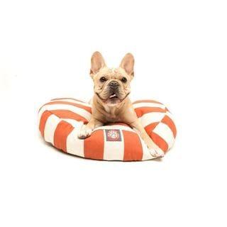 Majestic Pet Burnt Orange Vertical Stripe Round Pet Bed in Large (As Is Item)