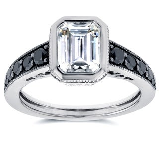 Annello 14k White Gold Forever Brilliant Emerald-cut Bezel-set Moissanite and 2/5ct TDW Black Diamond Ring