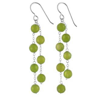 Ashanti Lime Green Agate Gemstone Sterling Silver Chandelier Handmade Earrings