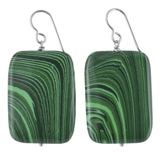 Ashanti Malachite Gemstone Sterling Silver Handmade Earrings