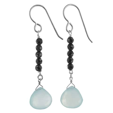 Aqua Chalcedony and Black Onyx Gemstone Silver Handmade Earrings