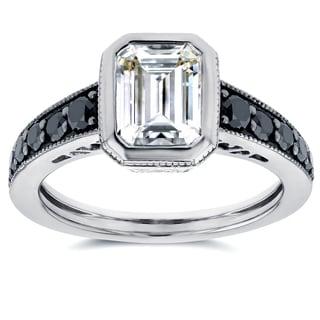 Annello by Kobelli 14k White Gold Emerald Moissanite Bezel and 2/5ct TDW Black Diamond Ring
