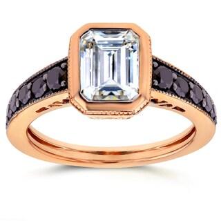 Annello by Kobelli 14k Rose Gold Emerald Moissanite Bezel and 2/5ct TDW Black Diamond Ring
