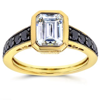 Annello by Kobelli 14k Yellow Gold Emerald Moissanite Bezel and 2/5ct TDW Black Diamond Ring by Kobelli