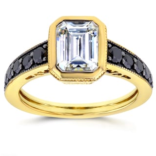 Annello by Kobelli 14k Yellow Gold Emerald Moissanite Bezel and 2/5ct TDW Black Diamond Ring