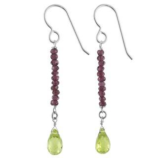 Ashanti Peridot and Rhodolite Garnet Gemstone Sterling Silver Handmade Earrings