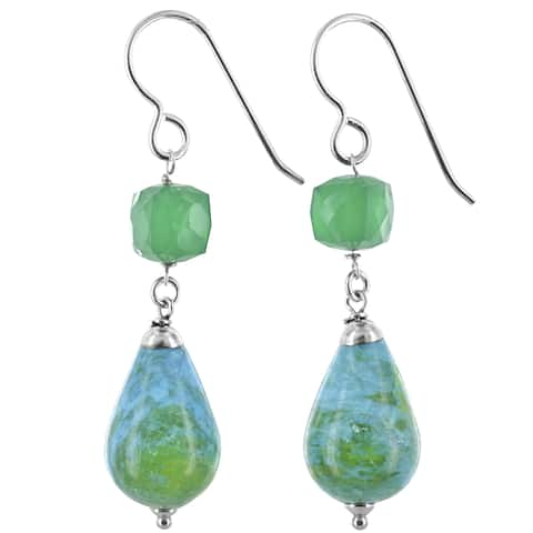 Blue Green Jasper, Emerald Chalcedony Silver Handmade Earrings