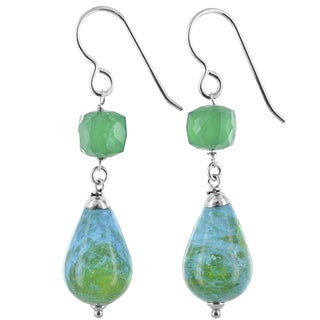 Ashanti Blue Green Jasper and Emerald Chalcedony Sterling Silver Handmade Earrings