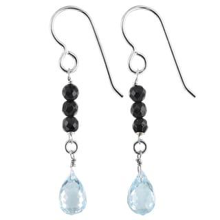 Ashanti Blue Topaz and Black Onyx Sterling Silver Handmade Earrings