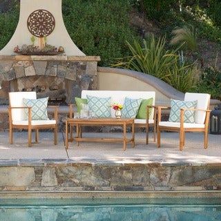 Link to Luciano Outdoor 4-piece Acacia Wood Chat Set with Cushions by Christopher Knight Home Similar Items in Outdoor Loveseat