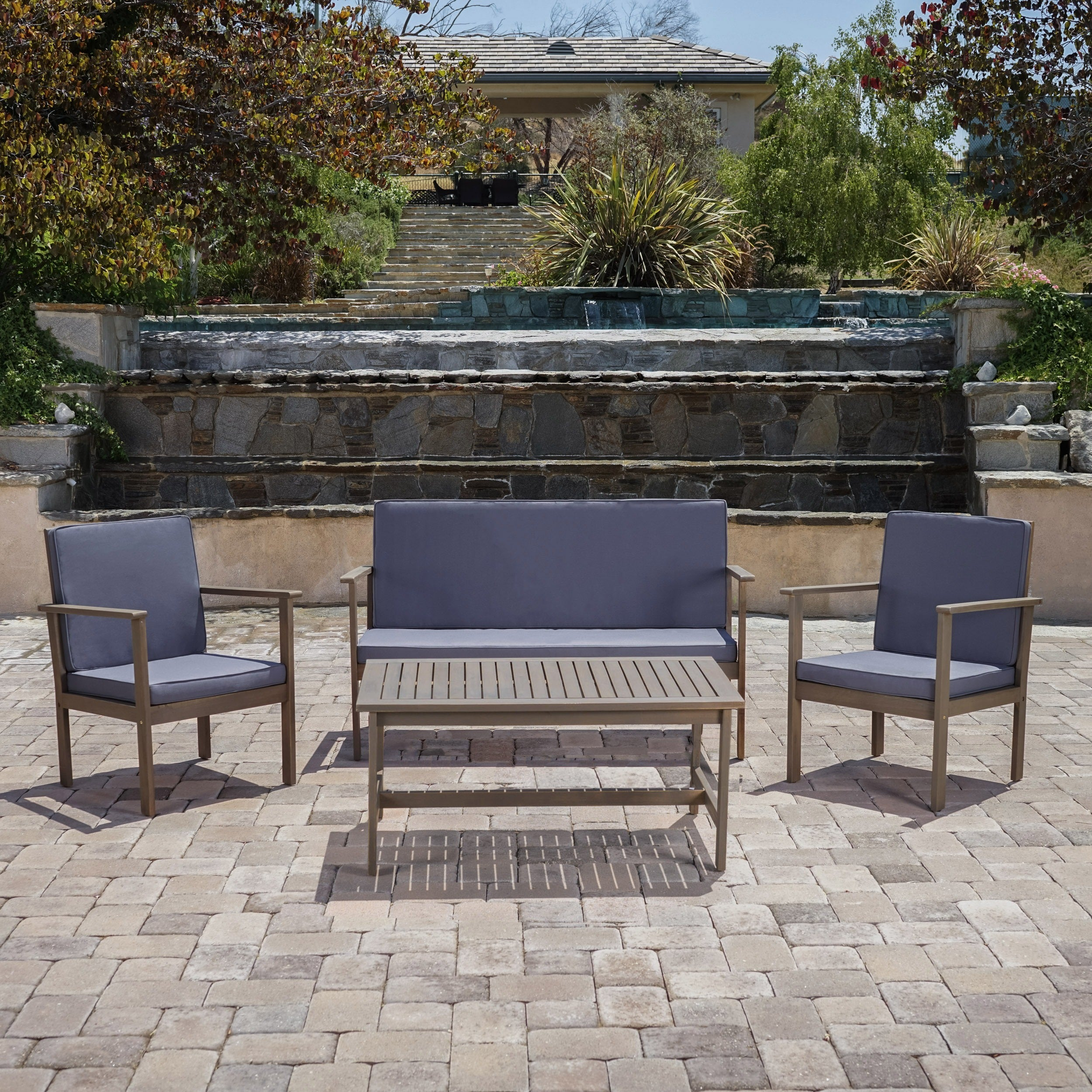 Luciano Outdoor 4-piece Acacia Wood Chat Set with Cushions by Christopher Knight Home (2 options available)
