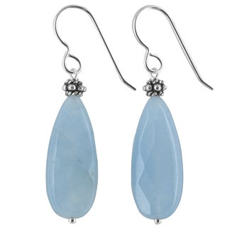 Ashanti Aqua Jade Gemstone Sterling Silver Handmade Earrings
