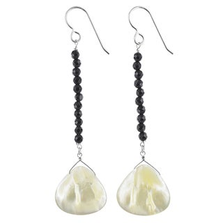 Handmade Ashanti Mother of Pearl Black Onyx Gemstone Sterling Silver Handmade Earrings (Sri Lanka) - Antique White