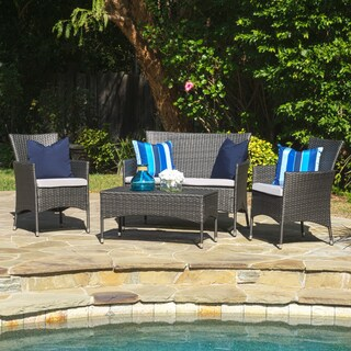 Malta Outdoor 4-piece Wicker Chat Set with Cushions by Christopher Knight Home (2 options available)