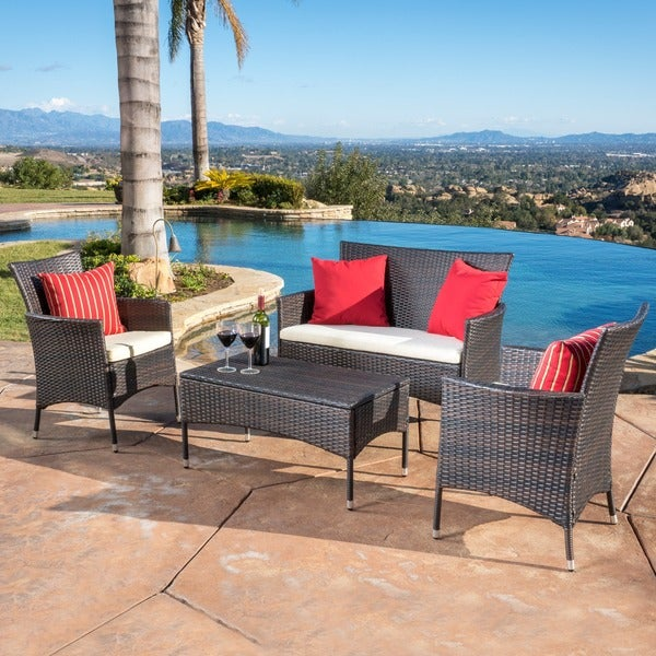 Elegant Malta Outdoor 4 Piece Wicker Chat Set With Cushions By Christopher Knight  Home