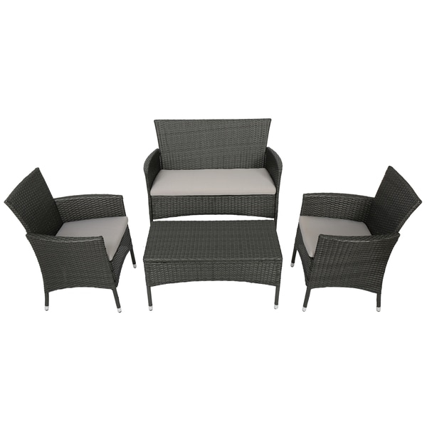 Malta Outdoor 4-piece Wicker Chat Set with Cushions by Christopher Knight Home - Free Shipping Today - Overstock.com - 17688701