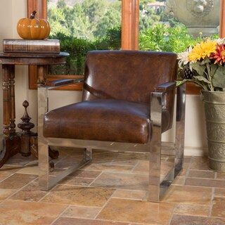 Brosnan Vintage Top Grain Brown Leather Arm Chair by Christopher Knight Home