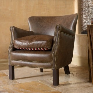 Cumbrae Top Grain Brown Leather Arm Chair by Christopher Knight Home