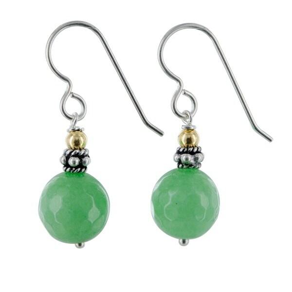 Ashanti Apple Green Jade Gemstone Sterling Silver Handmade Earrings - Lime