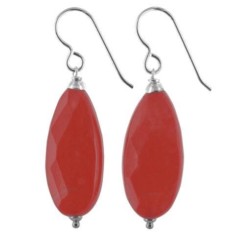 Coral Red Jade Silver Handmade Earrings
