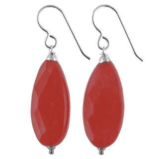 Ashanti Coral Red Jade Sterling Silver Handmade Earrings