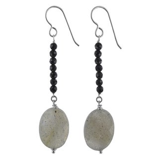 Ashanti Labradorite and Black Onyx Gemstone Sterling Silver Handmade Earrings