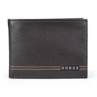 Guess Men's Genuine Leather Bifold Passcase Wallet